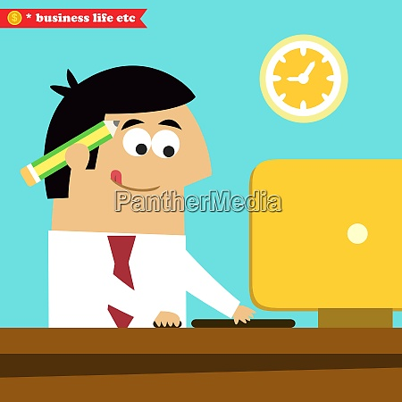 business life manager working diligently on