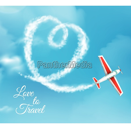 love to travel heart shaped airplane