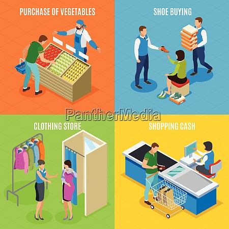 shopping people isometric design concept with