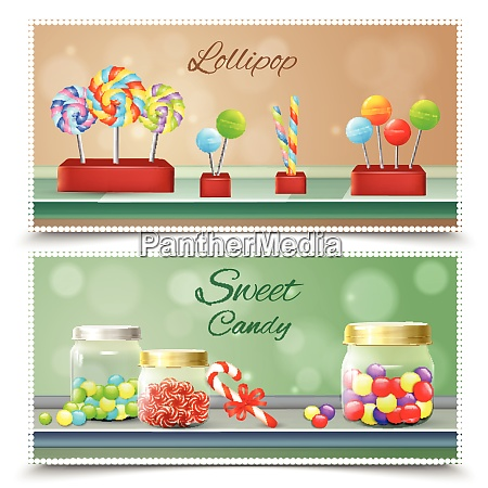 sweet candies and lollipops on shelves