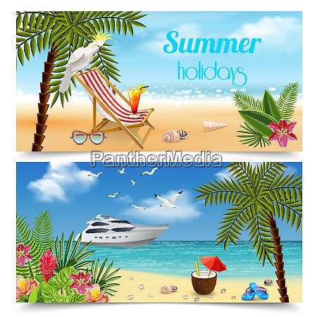 tropical paradise banners collection with images