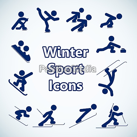 winter sports icons set isolated vector