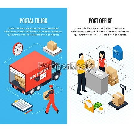 two vertical mail isometric banner set