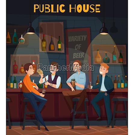 colored restaurant pub visitors composition or