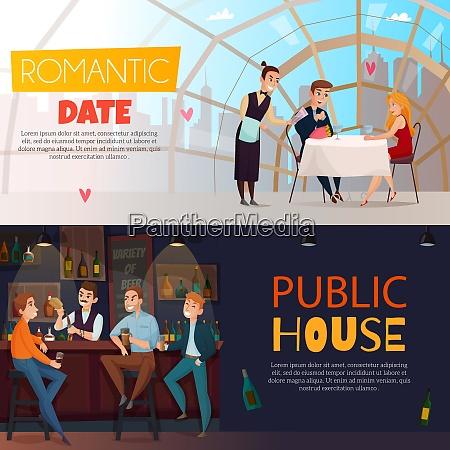 two horizontal restaurant pub visitors horizontal