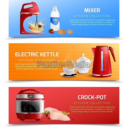 household kitchen appliances horizontal banners with