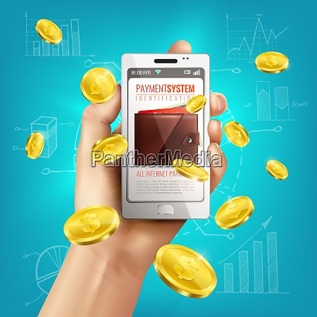 realistic wallet conceptual composition with smartphone