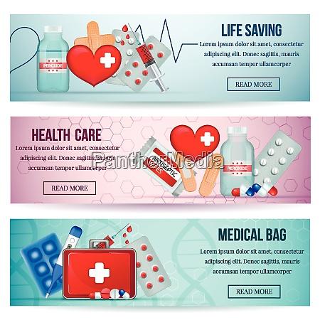 first aid kit 3 horizontal realistic