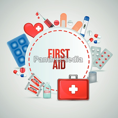 first aid kit realistic circular frame