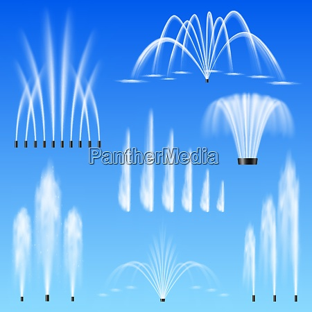 decorative outdoor water jets fountains set