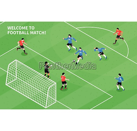 football soccer match moment with attacking