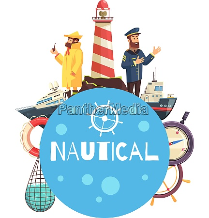 nautical cartoon concept with vessels captain