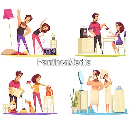 cartoon 2x2 design concept with couple