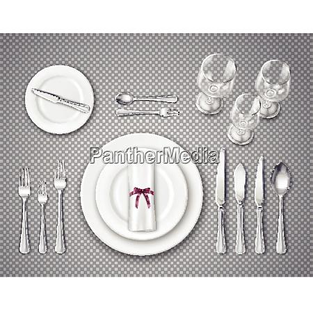 table etiquette top view transparent set