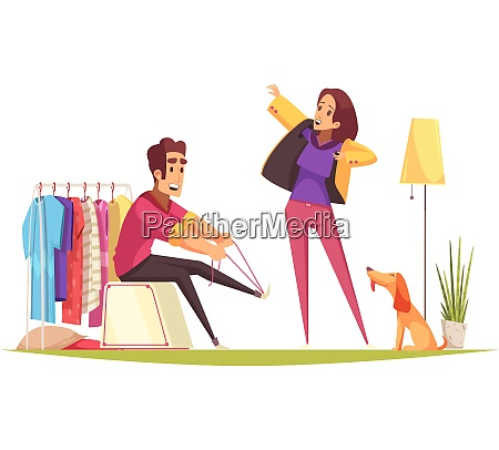 man and woman getting dressed and