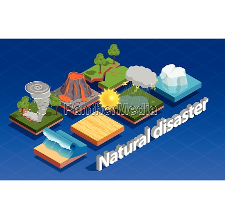 natural disaster isometric composition with volcano