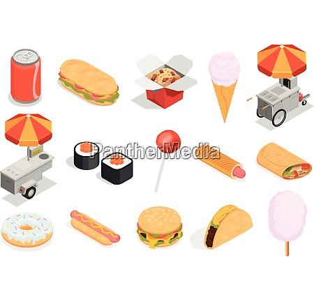 street food icons set with sweets