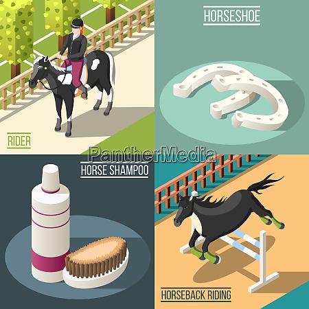 equestrian sport 2x2 design concept set
