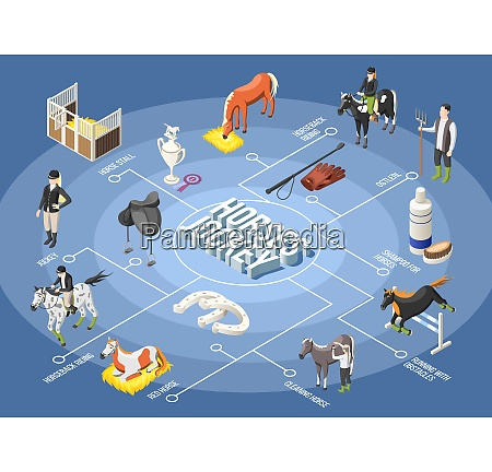 horses and jockey 3d flowchart with