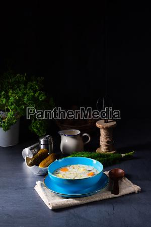 polish sour cucumber soup or salt