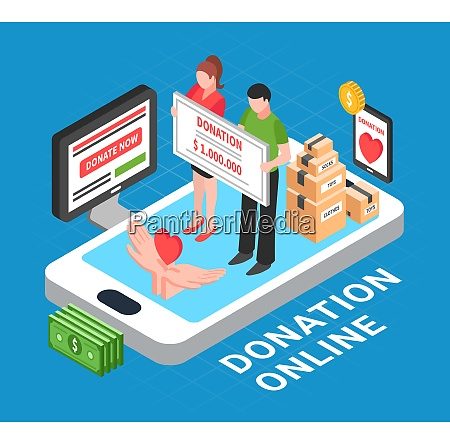 donation online isometric composition with heart