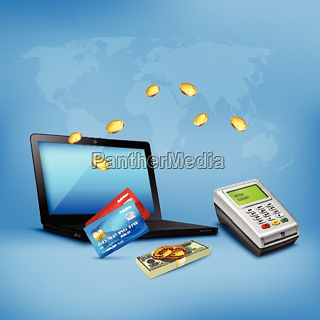 money transfer realistic composition with