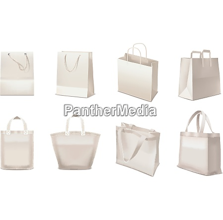 realistic set of shopping bags made