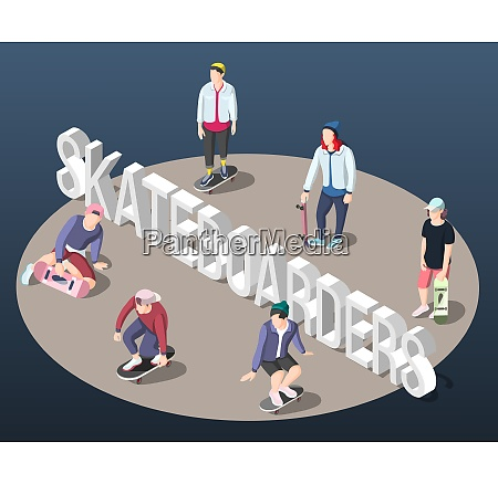 skateboarding isometric background with teenagers on