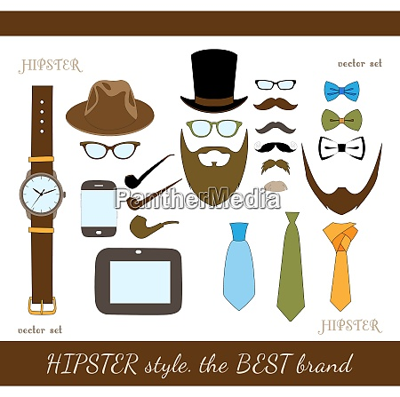 hipster accessory icons set of hat