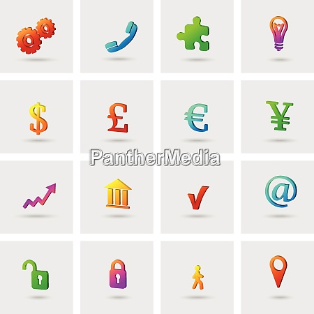 business icons set for finance marketing