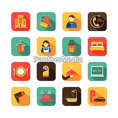 hotel travel accommodation flat icons set