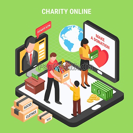 charity online isometric composition with volunteers