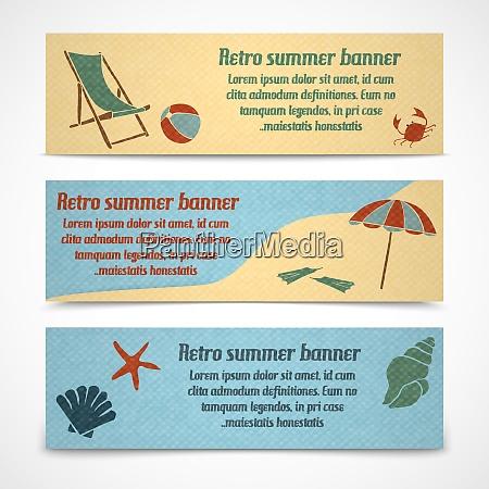 a set of horizontal summer vacation