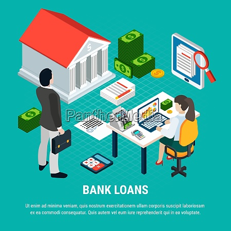 loans isometric background composition with editable