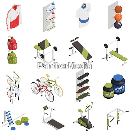 sport shop with exercise equipment clothing