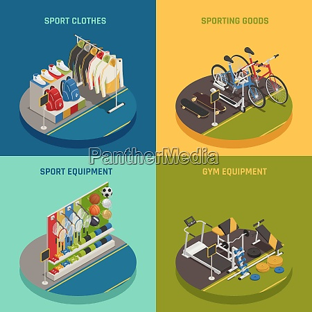 sport shop isometric design concept with
