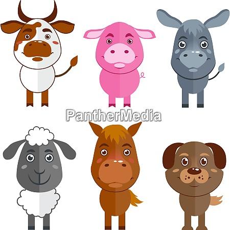 wild and domestic animal cartoon characters