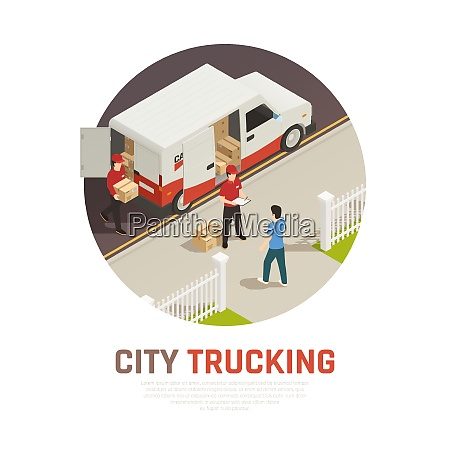 city trucking isometric round composition with