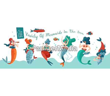 funny playful sexy mermaids in sea