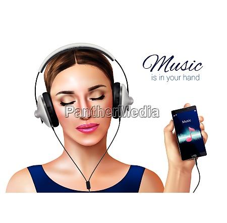 headphones earphones realistic conceptual composition with