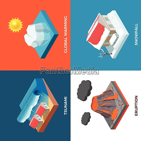 natural disasters isometric design concept with