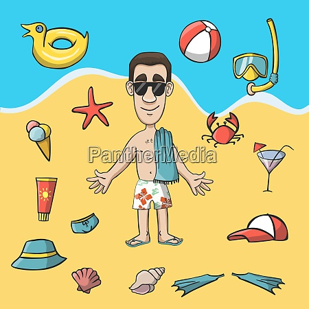 vacation travel character on the beach