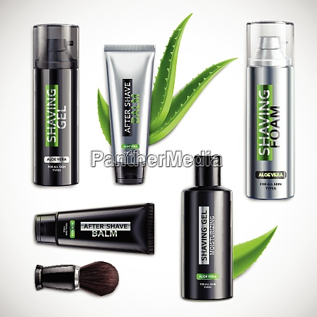 set of realistic shaving cosmetics with