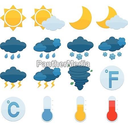 weather forecast symbols color icons set