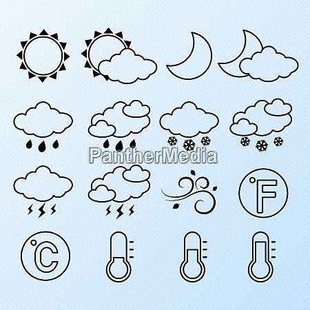 weather forecast symbols contour pictograms set