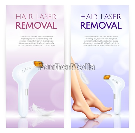 hair removal vertical banners with laser