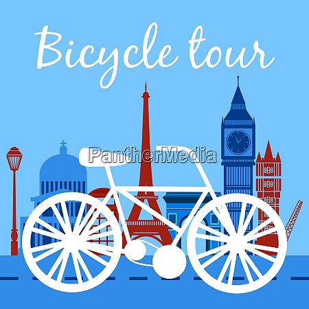 bicycle tour poster with bike silhouette