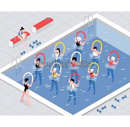 water, aerobics, class, women, group, during - 27152104