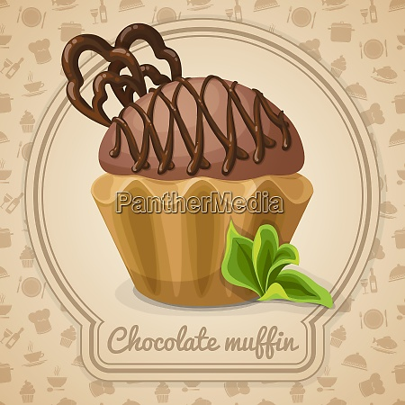 chocolate muffin dessert poster in frame