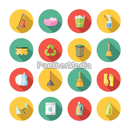 cleaning dusting and sanitation icons set